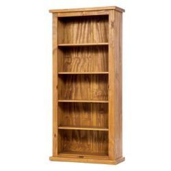 Farmhouse tall bookcase with a traditional stain and wax. Further details: http://solidwoodfurniture.co/product-details-pine-furnitures-5266--farmhouse-tall-bookcase-.html
