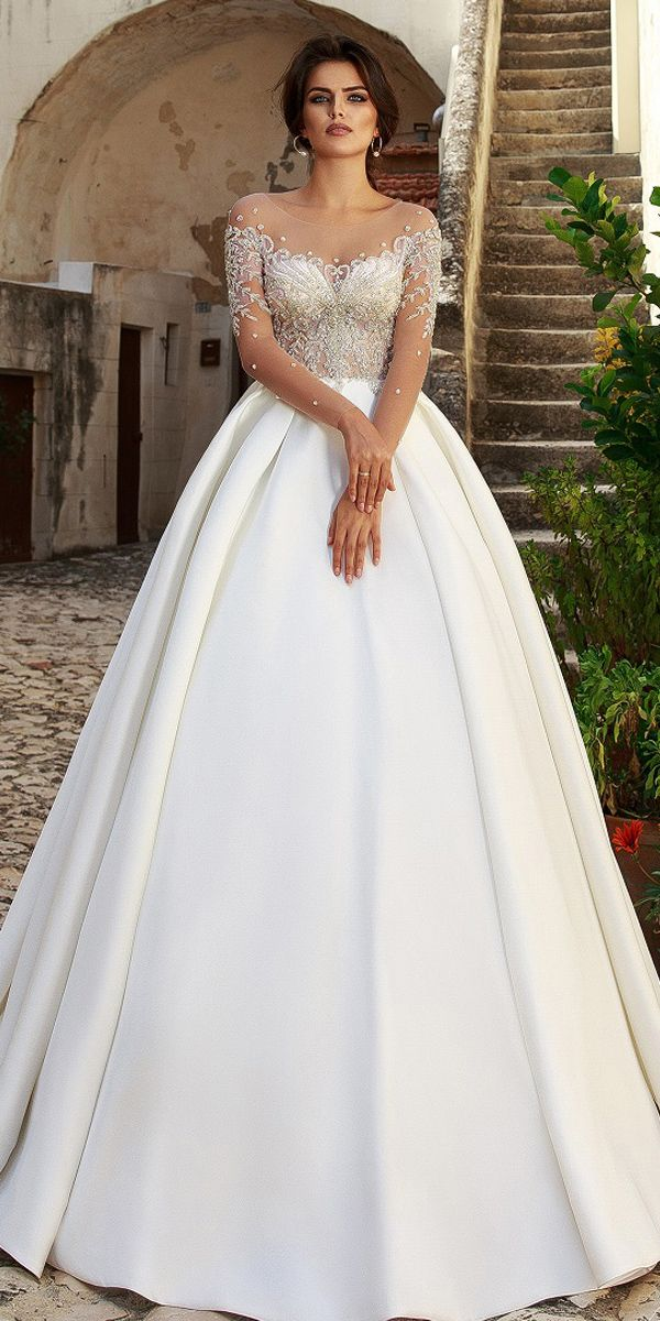 Glamorous Tulle Scoop Neckline See-through Bodice Ball Gown Wedding Dress With B…