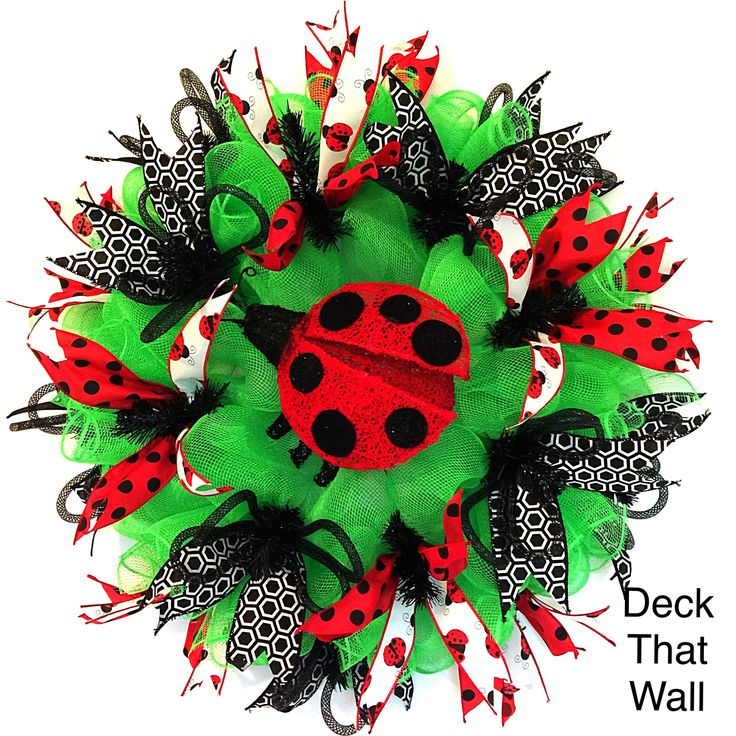 Green, Red, and Black LadyBug Summer Mesh Wreath
