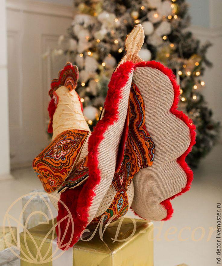 Купить Петух большой новогодний Инди, красно-рыжий, текстильный, интерьерный - петух, петушок, петух 2017