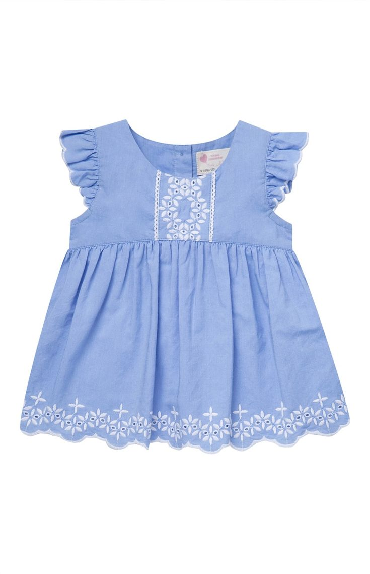 Newest addition to E's summer closet: Blue Embroidered Frill Blouse