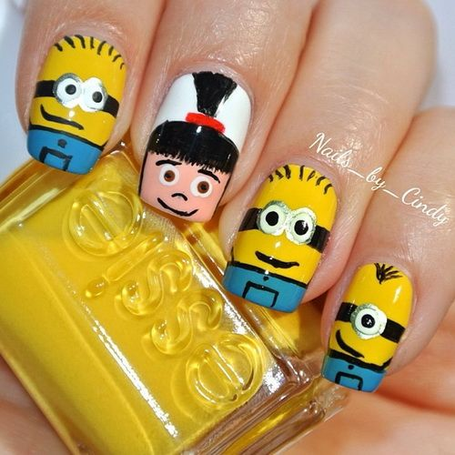 Minion Nail Art Design With Girl