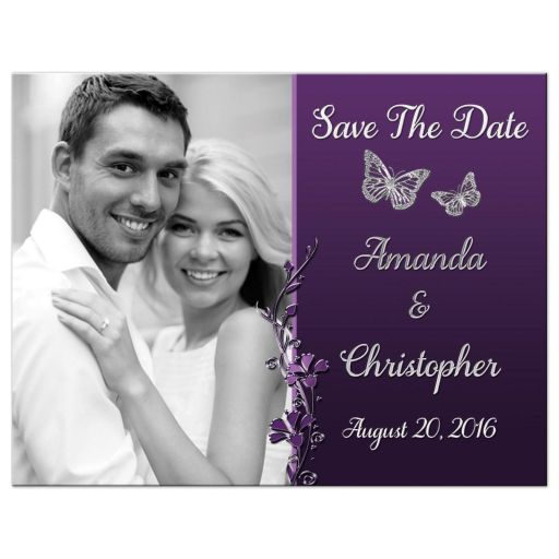 Wedding Save The Date PHOTO Post Card | Purple, Plum, Silver | Flowers, Butterflies
