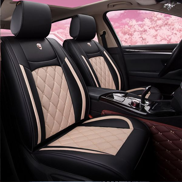 Stretchy Leather Pure Color Design Universal Cute Car Seat Covers Cute Car Seat Covers Car Interior Accessories