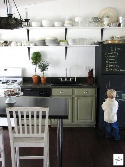 green?: Kitchens, Idea, Cabinets Colors, Green Cabinets, Open Shelves, Chalkboards Paintings, Chalkboard Fridge, Chalk Boards, Chalkboards Fridge