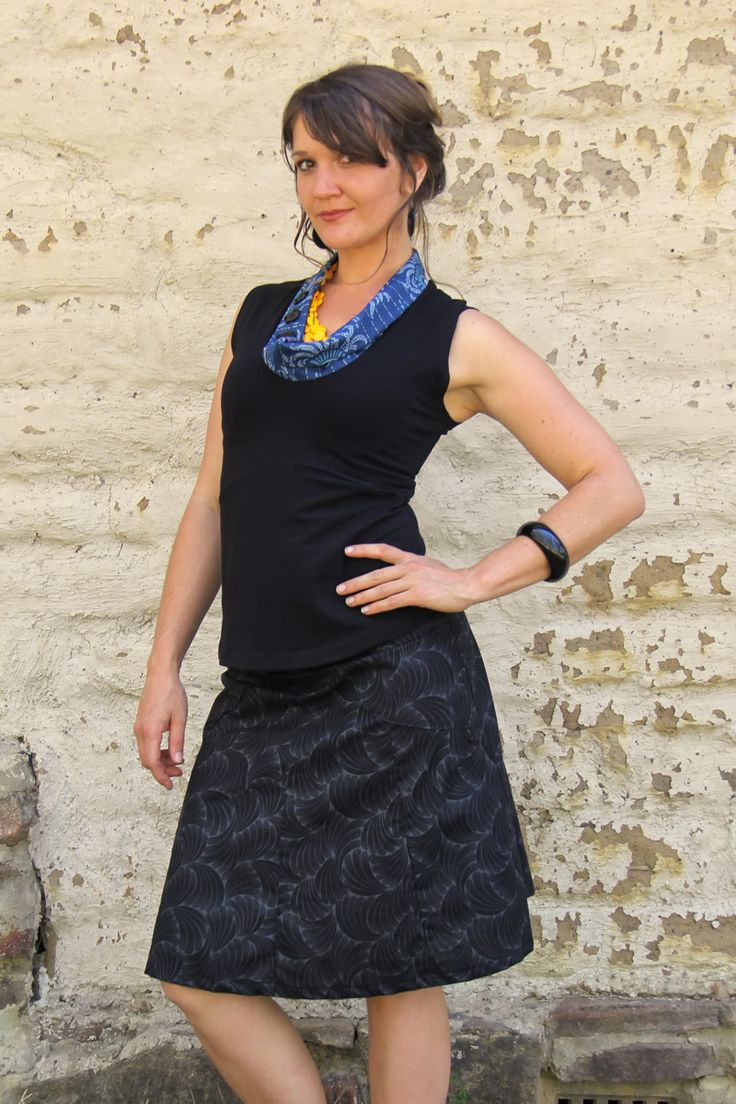 Pocket skirt - charcoal fans. 100% cotton. Ethically handmade in Australia.
