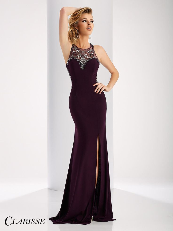 Fitted 2017 Clarisse Prom Dress Style 3115. Feel sexy and confident in this fitted sleeveless dress with its amazing slit, crystal embellishments and mesh back! Buy yours today from a Clarisse retailer nearest you!  Click through to see all the amazing colors! COLOR: Black, Red, Eggplant (Deep Purple), Navy SIZE: 00-20