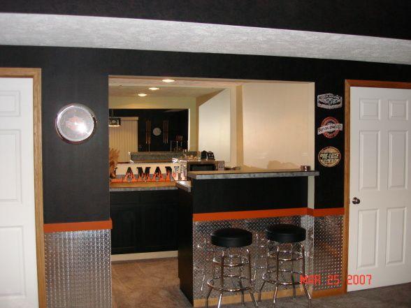 28 best basement harley images on pinterest home ideas for Garage bar designs