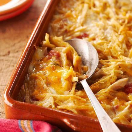 Quick Chicken Tortilla Bake: Just 5 ingredients in this casserole dinner!
