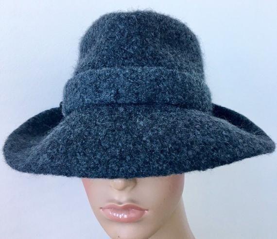 Grey Fedora Felted Wool Hat Girls's Fedora Extensive Brim Fedora Bohemian Hat