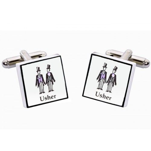 Contemporary Usher Cufflinks  from www.personalisedweddinggifts.co.uk :: ONLY £19.95
