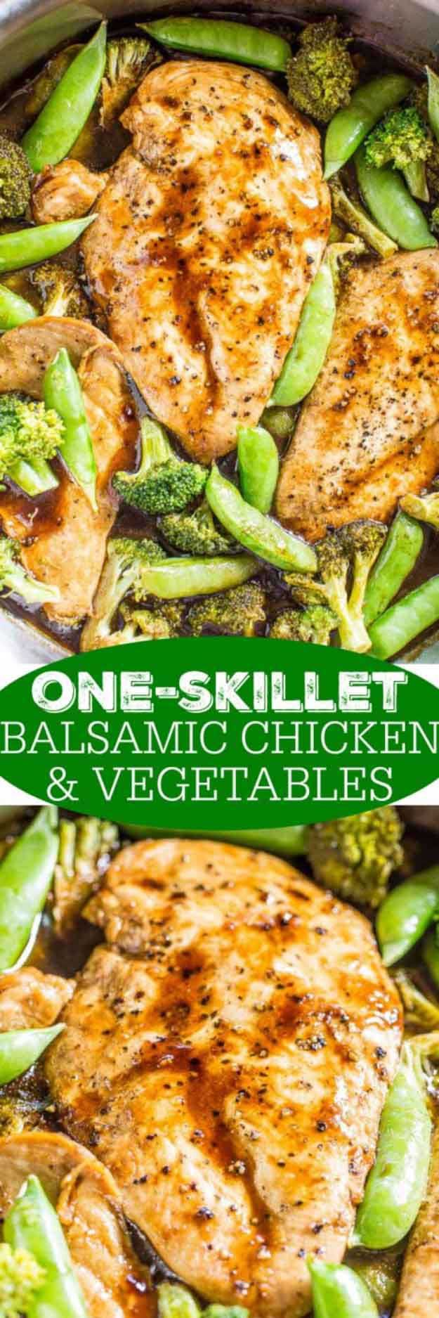 Quick and Easy Healthy Dinner Recipes - One-Skillet Balsamic Chicken and Vegetables - Awesome Recipes For Weight Loss - Great Receipes For One, For Two or For Family Gatherings - Quick Recipes for When You're On A Budget - Chicken and Zucchini Dishes Under 500 Calories - Quick Low Carb Dinners With Beef or Shrimp or Even Vegetarian - Amazing Dishes For Picky Eaters - http://thegoddess.com/easy-healthy-dinner-receipes