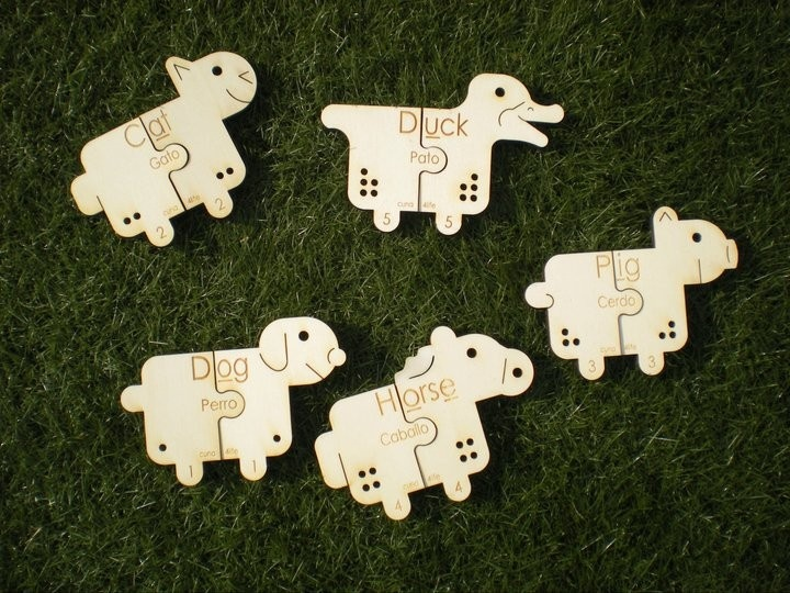 Puzzles - 5 Wooden Farm Animals Bilingual.