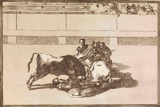 Goya's 'Tauromaquia, a Picador Is Unhorsed and Falls under the Bull' (c.1825).