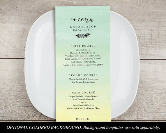 Menu Card Template, Printable Wedding Menu, Dinner Party Menu, DIY   Dinner  Menu  Dinner Menu Template Free