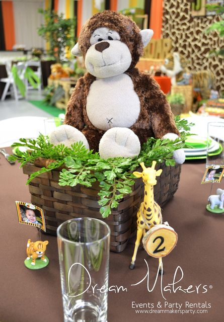 Love this centerpiece from a Jungle themed baby shower!  See more party ideas at CatchMyParty.com!