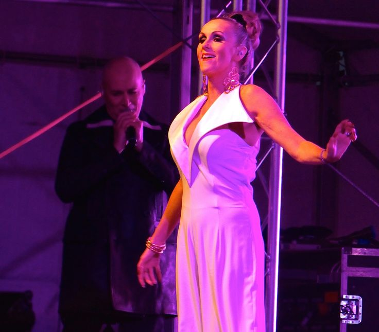 Susan Ann Sulley and Philip Oakey, The Human League, Uttoxeter Racecourse, May 2016.