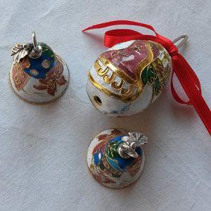 Set di 3 decorazioni in smalto cloisonné
