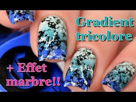 Gradient nail art and tutorial for a super easy marble effect... water spotted!!! Hello! Voici un nail art dégradé tricolore avec en plus un petit effet marb...