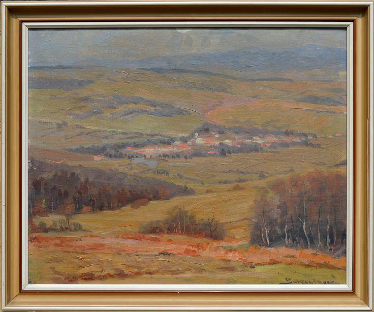 Július Bukovinský - Východoslovenská krajina, olejomaľba na plátne, 45 x 55 cm / 53 x 63/, poškodený rám ...