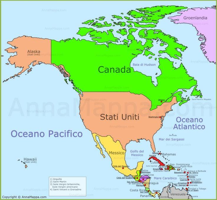 Mappa America del Nord
