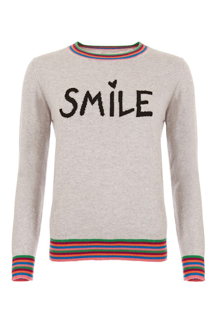 Spun from the softest cashmere this luxurious take on the slogan sweater features a feel-good Smile intarsia. This silver marl knit is trimmed with contrasting multi-coloured stripes to the collar and cuffs and is crafted into a crew-neck style with a relaxed fit. Will work perfectly with a pair of boyfriend jeans and sneakers.