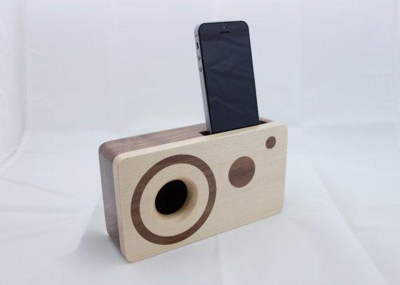 Handmade walnut wood iPhone acoustic speaker box by WoodAndGadget