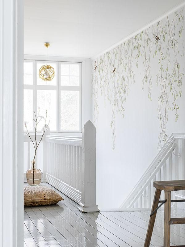 A photo wallpaper with springtime birds and foliage from Mr Perswall's wallpaper collection Shades. Customise and order the photo wallpaper directly online.