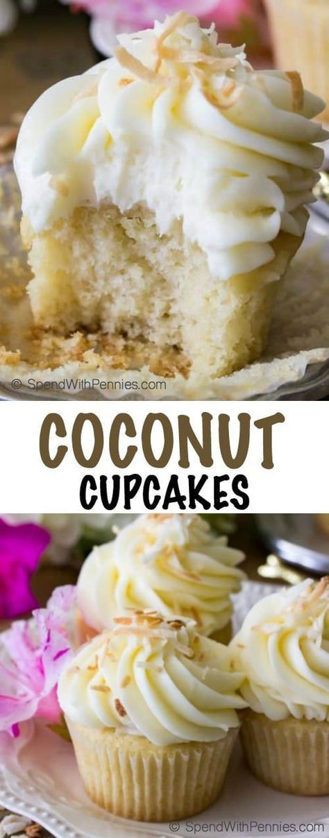 Coconut cupcakes are soft, fluffy cupcakes (I provide a both a from-scratch recipe and the option to use a box-mix!), topped off with a cream cheese based coconut buttercream frosting and then sprinkled with lightly toasted coconut!