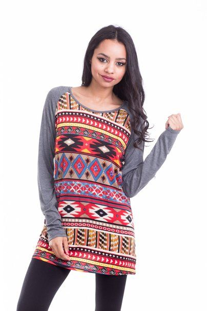 Boutique Republic Womens Aztec Multicolor Print Long Sleeve Tunic Top