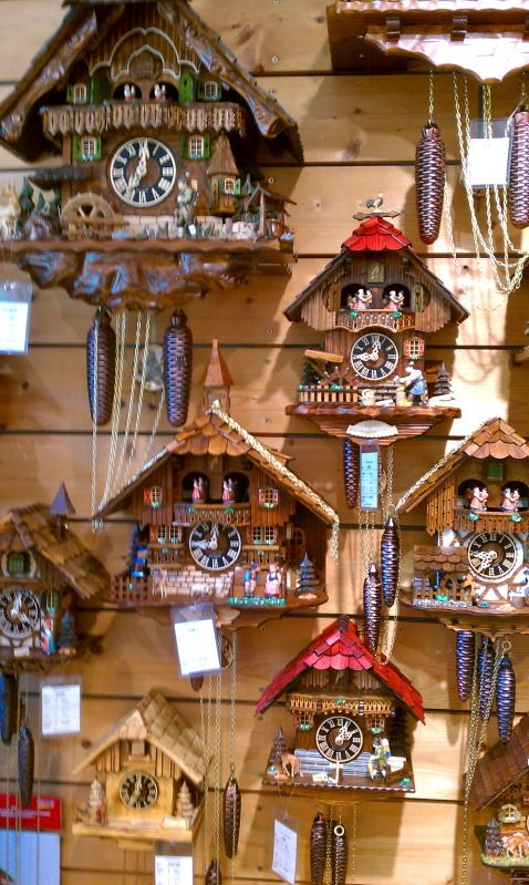 German cuckoo clocks - Oberammergau My first out of the country adventure.  A beautiful quaint little town nesteled in the Black Forest, where the town has a Passion Play every 10 years. The man who crafted my Cuckoo Clock worked in a 10' x 10' hut all day.