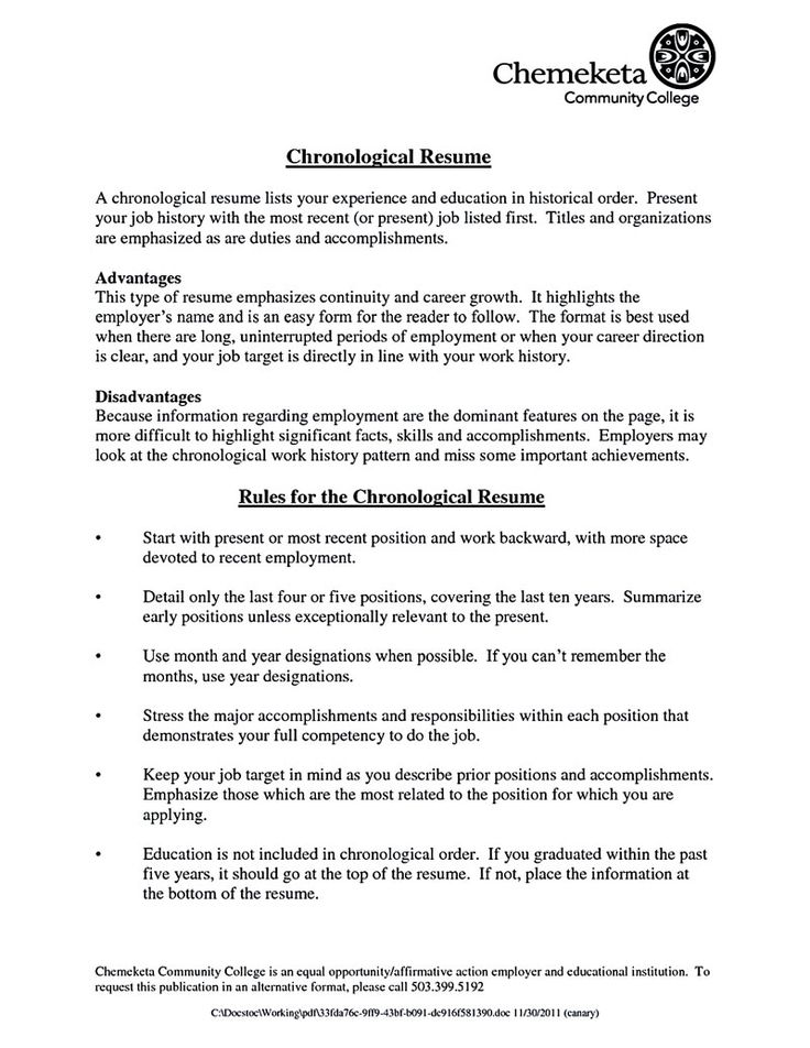 Targeted Resume Template Chronological Resume Template