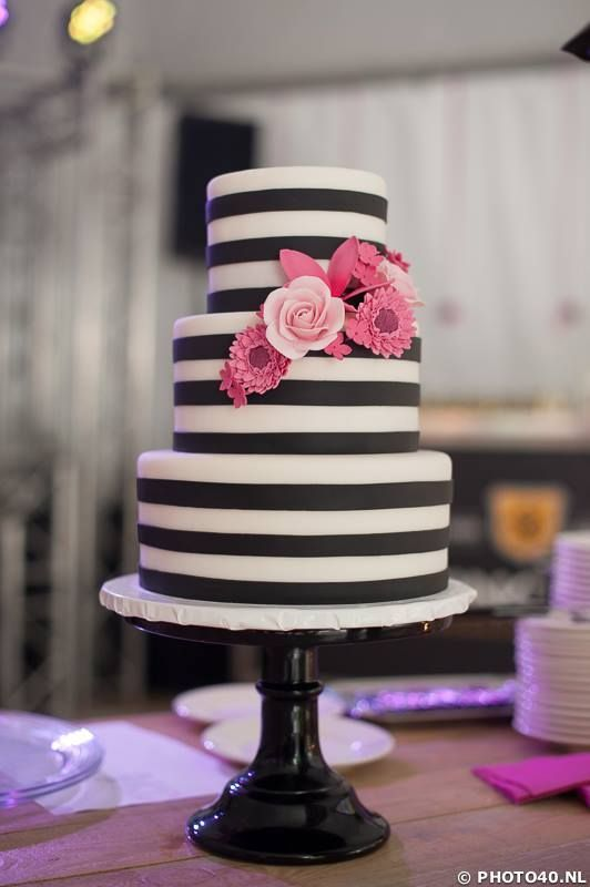 Black and White Striped Cake with pink flowers - Featured Wedding Cake: Sugarlips Cakes