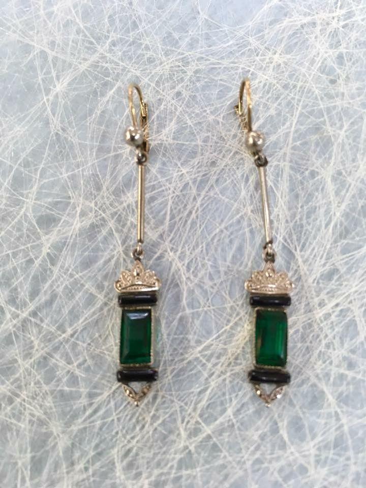 Pendientes de plata y cristal. Originales de los años 20-30.