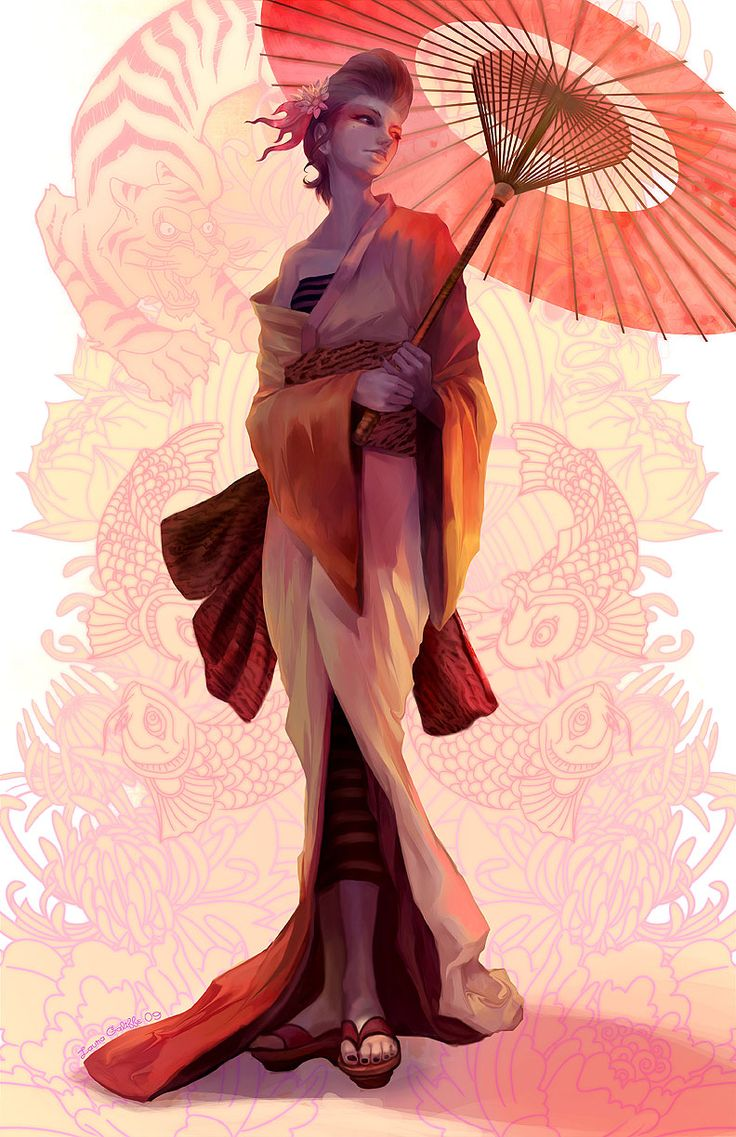 A beautiful geisha with a bbc mh 2