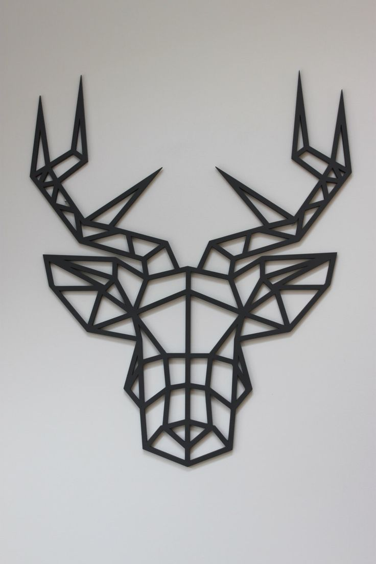 Original And Unique Large Laser Cut Artwork Limited Edition Contemporary  Geometric Design Stag Head By KREATIVDESIGNLTD