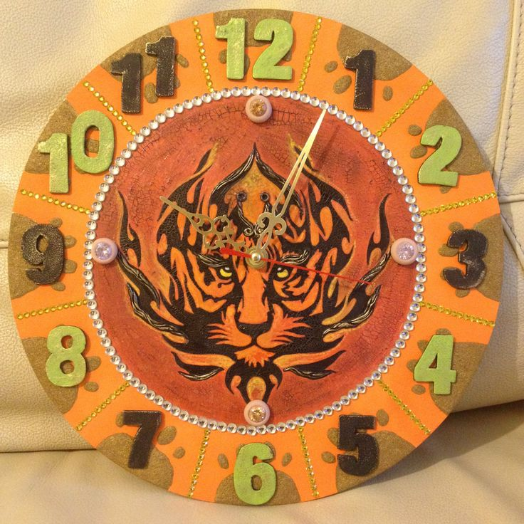 Cool Tiger Clock for Kids room decoration, Kids Clock, Childrens decor, Childrens Clock, Tiger art, Original Clock, Unusual Clock by DOSHE on Etsy