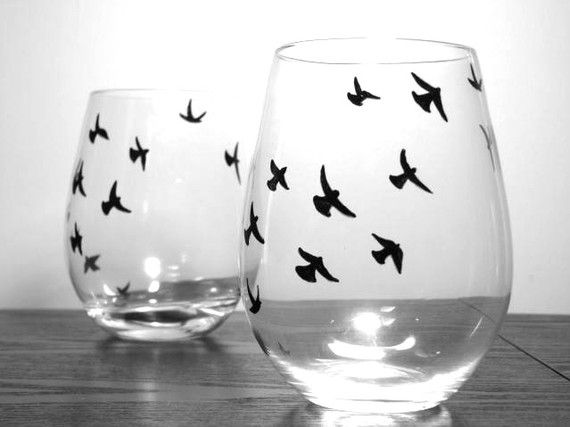 painted stemless wine glasses birds in flight by