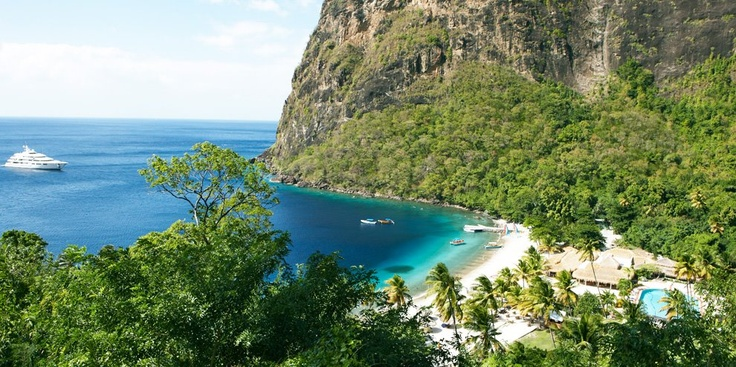 The best beach I've been to. . .  Jalousie Plantation, St. Lucia - Nestled in 192 acres of magnificent rainforest and sweeping majestically down to sea- this hotel is without question located in one of the most awe-inspiring locations in the world- the majestic valley of The Pitons