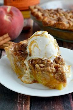 Maple Bourbon Brown Butter Peach Pie. This is probably the most delicious dessert to ever grace the face of the earth. Fresh peaches, maple-bourbon caramel, pecan brown butter streusel, buttery, flaky pie crust, and vanilla bean ice cream. | http://hostthetoast.com