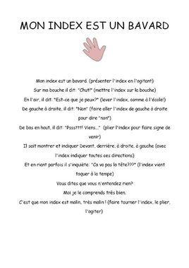 poésie pour expliquer les gestes que peut faire l'index
