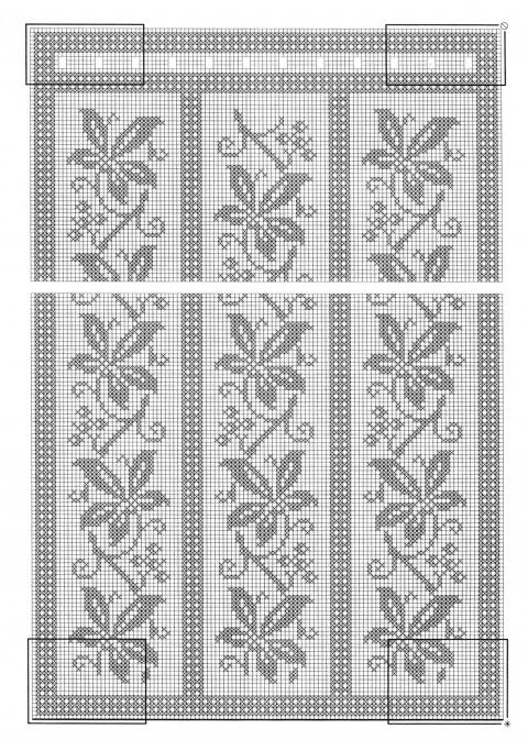 nice panels for filet crochet or cross stitch - Шторы, связанные крючком