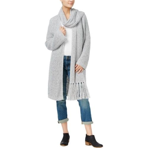 Tommy Hilfiger Womens Scarf Fringe Cardigan Sweater, Size: Large, Grey Heather