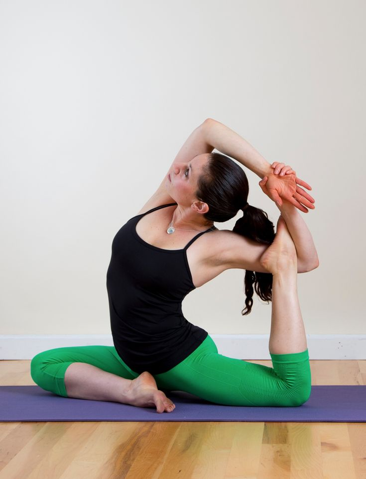 This sequence of Pigeon pose variations are sure to loosen up hips made tight from running or simply sitting all day. Begin with your right knee forward, and then repeat on the other side
