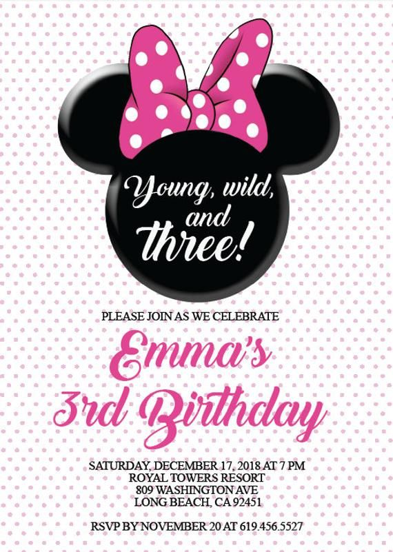 Pin On Minnie Mouse Invitations