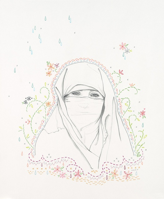 """Jenny Hart: #2 (Muslim - niqab), 2011 by Jenny Hart  graphite and colored pencil on bristol  16.5"""" x 20.5""""    From """"Vanités Sacrées"""" a solo show of 20 drawings   @ Galerie LJ, Paris, France  Sept 1 2011 - Oct 18 2011"""