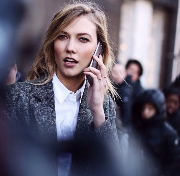 Karlie kloss after show with phone