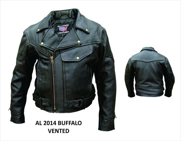 Men's AL2014 Vented jacket with braid trim 66 Black. Buffalo leather. Antique Brass Hardware. Braid Trim. Zipout Liner.