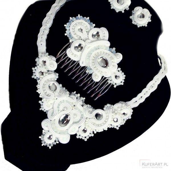 Komplet ślubny sutasz - naszyjnik, grzebyk,wkrętki - Biżuteria ślubna - Biżuteria srebrna