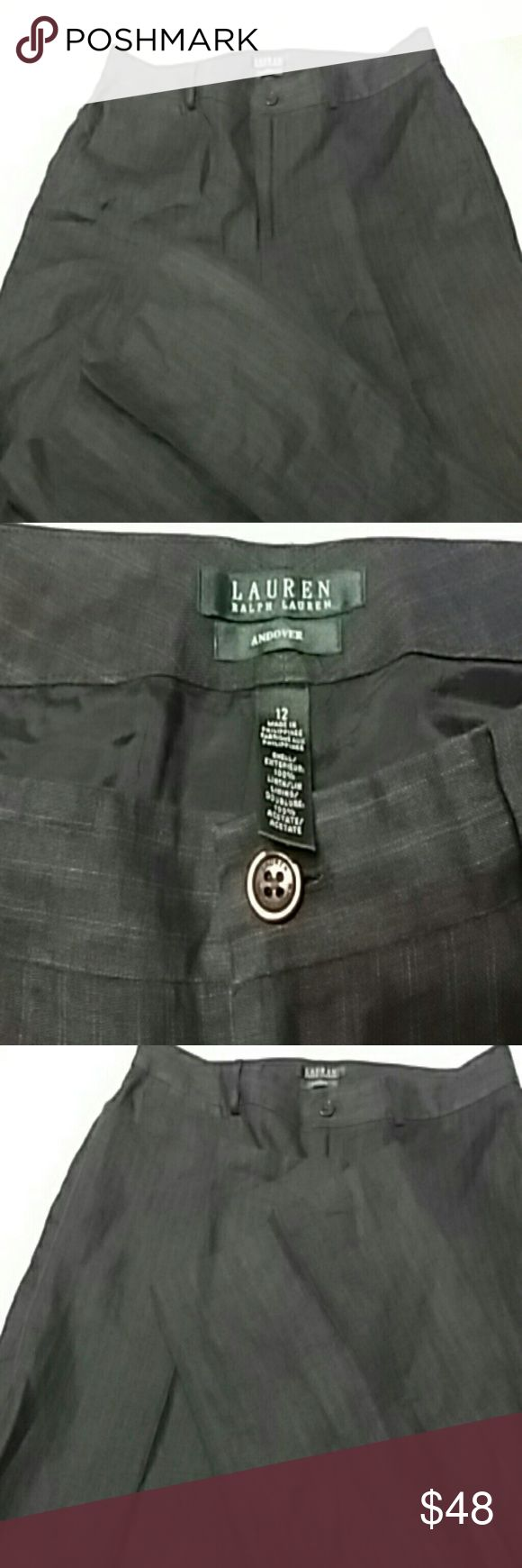 Ralph Lauren linen pants Navy blue Ralph Lauren Andover pants. These pants are navy blue with a goldish brown stripe in it. The pictures cannot do these pants Justice. They are beautiful and are going to be very sharp with a navy blue linen, brown, or white linen shirt. Ralph Lauren Pants Trousers